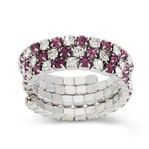 Isla Simone - Rhodium Plated Crystal 3-Row Ring