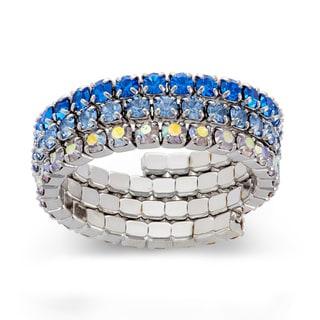 Isla Simone - Rhodium Plated Gradient Crystal 3-Row Ring