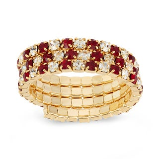 Isla Simone - Gold-Plated 3-Row Crystal Ring