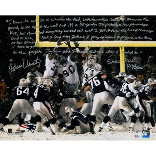 Adam Vinatieri Signed Snow Kick 16x20 Story Photo