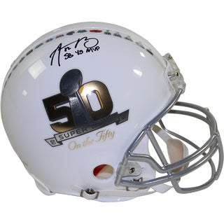 "Aaron Rodgers Signed Riddell Superbowl on the 50 White Authentic Helmet w/ ""SB45 MVP"" Insc. (LE/50)"