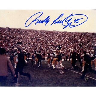 Rudy Ruettiger Signed Carry Off Horizontal 8x10 Photo (Signed in Blue)