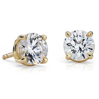 14k Gold 2 1/4ct TDW GIA Certified Round Diamond Stud Earrings (F-G, VS1-VS2)