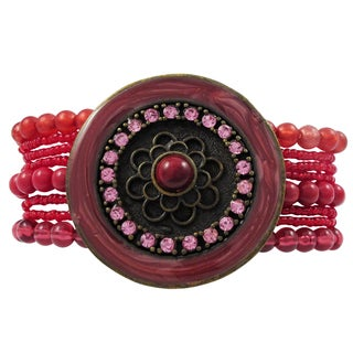 Luxiro Antique Finish Red and Pink Crystal and Bead Medallion Multi-strand Bracelet