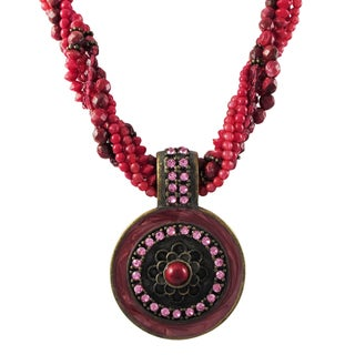 Luxiro Antique Finish Red and Pink Crystal and Bead Medallion Multi-strand Necklace