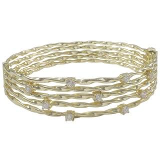 Luxiro Shiny or Matte Gold Finish Cubic Zirconia Wire Bangle Bracelet - White