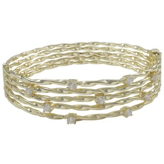 Luxiro Shiny or Matte Gold Finish Cubic Zirconia Wire Bangle Bracelet - White