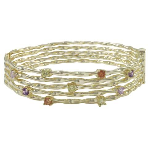 Luxiro Shiny or Matte Gold Finish Multi-color Cubic Zirconia Wire Bangle Bracelet - Green