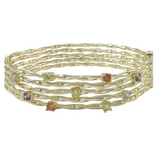 Luxiro Shiny or Matte Gold Finish Multi-color Cubic Zirconia Wire Bangle Bracelet