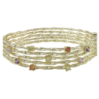 Luxiro Shiny or Matte Gold Finish Multi-color Cubic Zirconia Wire Bangle Bracelet - Green