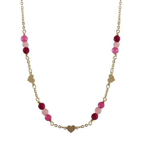 Luxiro Gold Filled Semi-precious Gemstone and Freshwater Pearl Children's Heart Necklace