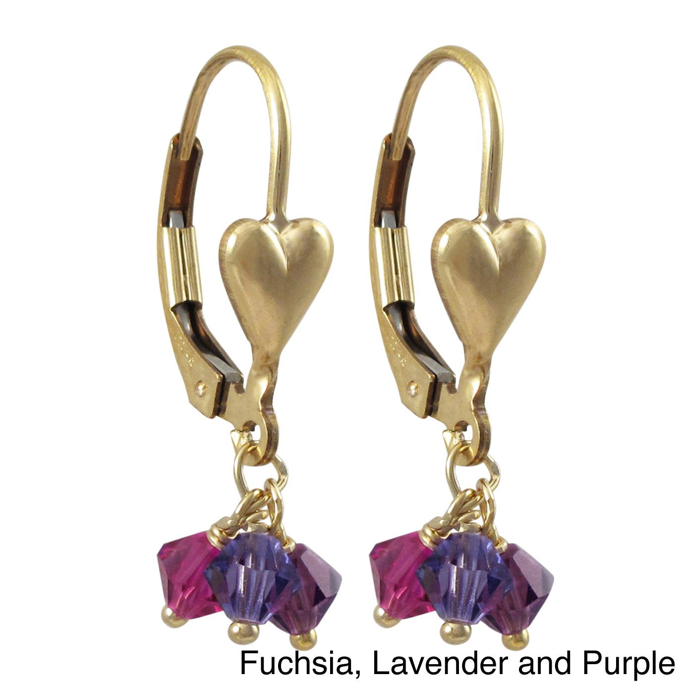 Luxiro Gold Filled Austrian Crystals Children's Heart Dan...
