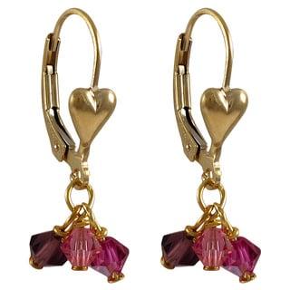 Luxiro Gold Filled Austrian Crystals Children's Heart Dangle Earrings
