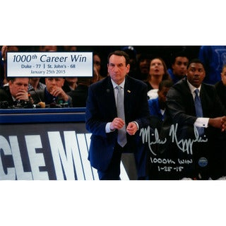 Mike Krzyzewski Signed 1000th Career Win 6x10 Photo w/ 1000th Win & Date Insc
