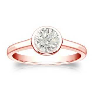 Auriya 14k Gold 1/2ct TDW Round Bezel-Set Diamond Solitaire Engagement Ring (More options available)