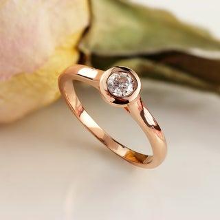 Auriya 1/2ctw Bezel Set Round Solitaire Diamond Engagement Ring 14k Gold