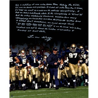 Lou Holtz Running out Notre Dame Tunnel Signed Vertical 16x20 Story Photo