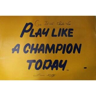 Lou Holtz / Charlie Weis 20x30 Play Like A Champion Poster w/ Go Irish Inscription by Weis - Black