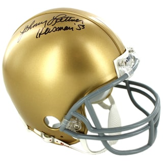Johnny Lattner Signed Notre Dame Mini Helmet w/ Heisman Inscrip.
