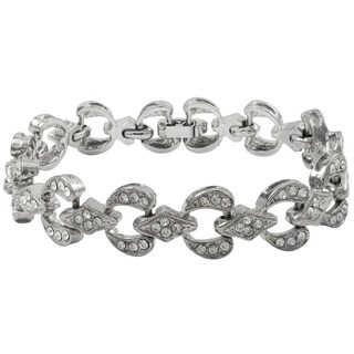 Luxiro Rhodium Finish Pave Crystals Geometric Bracelet