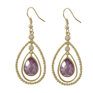 Luxiro Gold Finish Floating Cubic Zirconia Teardrop Earrings