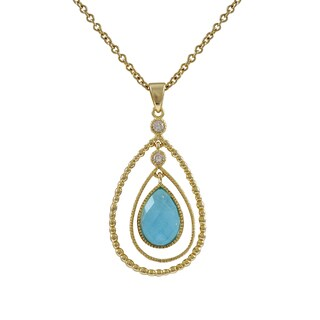 Luxiro Gold Finish Floating Cubic Zirconia Teardrop Pendant Necklace