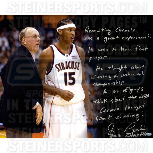 "Jim Boeheim ""Recruiting Carmelo"" Signed 16x20 Story Photo"