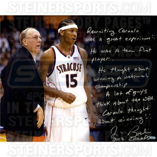 "Jim Boeheim ""Recruiting Carmelo"" Signed 16x20 Story Photo"