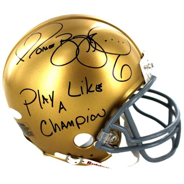 Jerome Bettis Signed Notre Dame Mini Helmet w/ Play Like a Champion Inscription