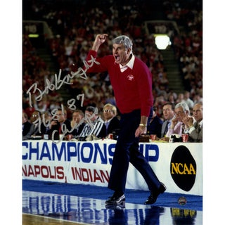 "Bob Knight Signed Yelling 8x10 Photo w/ "" 76, 81, 87 Champs"" Insc"