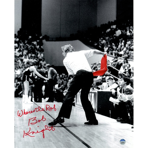 "Bob Knight Signed Throwing Chair B&W w/ Red Chair 8x10 Photo w/ ""Where's The Ref"" Insc."