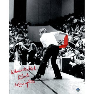 "Bob Knight Signed Throwing Chair B&W w/ Red Chair 8x10 Photo w/ ""Wheres The Ref"" Insc."