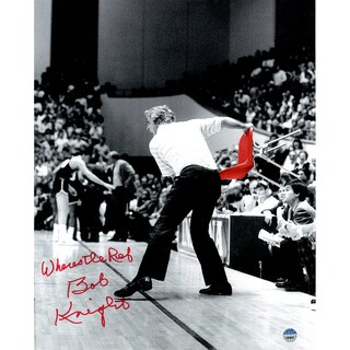 "Bob Knight Signed Throwing Chair B&W w/ Red Chair 8x10 Photo w/ ""Wheres The Ref"" Insc. - Black"