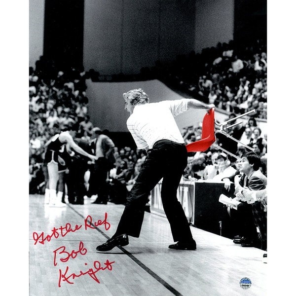 "Bob Knight Signed Throwing Chair B&W w/ Red Chair 8x10 Photo w/ ""Got The Ref"" Insc."