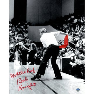 "Bob Knight Signed Throwing Chair B&W w/ Red Chair 8x10 Photo w/ ""Got The Ref"" Insc."