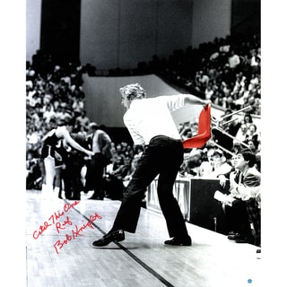 "Bob Knight Signed Throwing Chair Vertical B/W w/ Color Accents 20x24 Photo w/ ""Catch this one Ref"" Insc. (Signed in Red)"