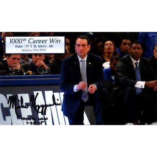 Mike Krzyzewski Signed 1000th Career Win 6x10 Photo w/ 1000th Win & Date Insc (Signed in Black)