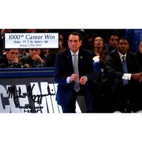 Mike Krzyzewski Signed 1000th Career Win 6x10 Photo w/ 1000th Win & Date Insc (Signed in Black)
