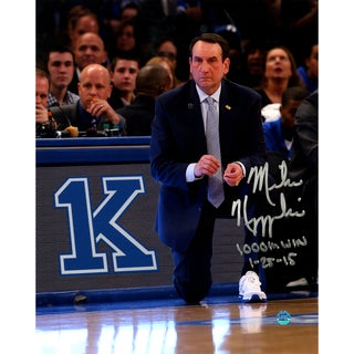 Mike Krzyzewski Signed 1000 Win 8x10 Photo w/ 1000th Win & Date Insc - Black
