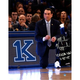 Mike Krzyzewski Signed 1000 Win 11x14 Photo w/ 1000th Win Insc - Black