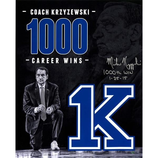 Mike Krzyzewski Signed 1000 Career Wins Tribute 16x20 Photo w/ 1000th Win Insc