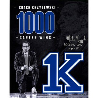 Mike Krzyzewski Signed 1000 Career Wins Tribute 16x20 Photo w/ 1000th Win Insc - Black