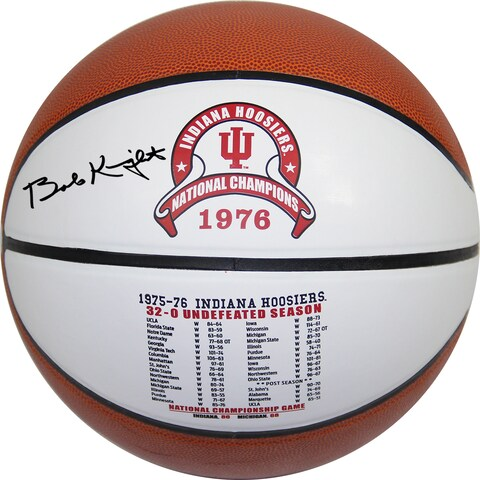 "Bob Knight Signed Indiana Hoosiers Undefeated Season Games & Scores White Logo Basketball w/ ""32-0"" Insc - Black"