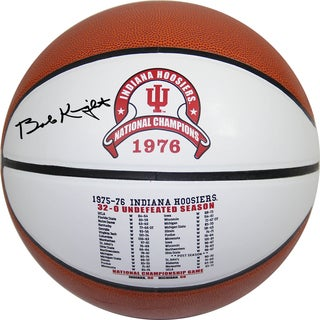 "Bob Knight Signed Indiana Hoosiers Undefeated Season Games & Scores White Logo Basketball w/ ""32-0"" Insc"