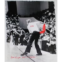 "Bob Knight Throwing Chair B&W w/ Red Chair 22x26 Canvas w/ ""1976, Still Undefeated"" Insc"