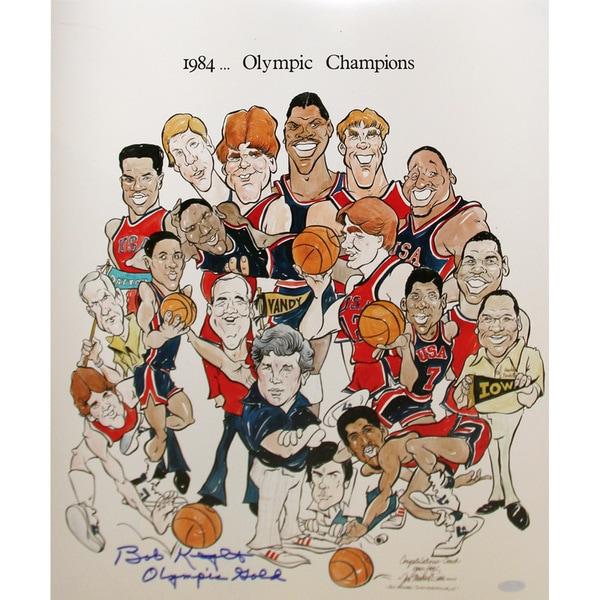 "Bob Knight 1984 Olympic Champions Cartoon Signed 16x20 Photo w/ ""Olympic Gold"" insc"