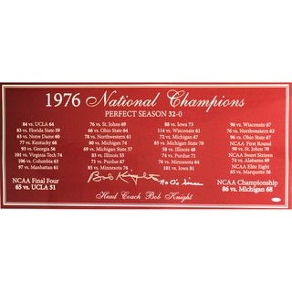 "Bob Knight Signed Perfect Season Panoramic Photo w/ ""No 0's since"" insc"