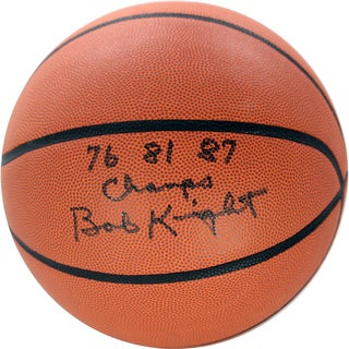 Bob Knight Signed NCAA Basketball w/ 76, 81, 87 Champs