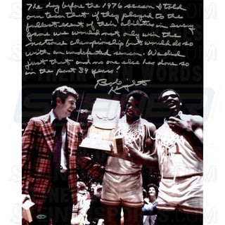 Bob Knight Signed w/ Trophy 16x20 Story Photo