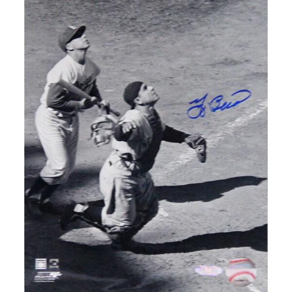 Yogi Berra Signed Looking up for Baseball B/W Vertical 8x10 Photo